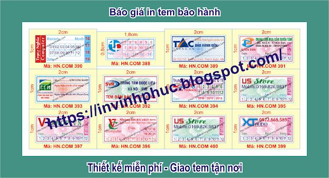In tem bảo hành giảm giá khủng 23% chỉ vào 115đ/cái tem ở tại Xã Triệu Nguyên, Huyện Đa Krông, Tỉnh QuảngTrị