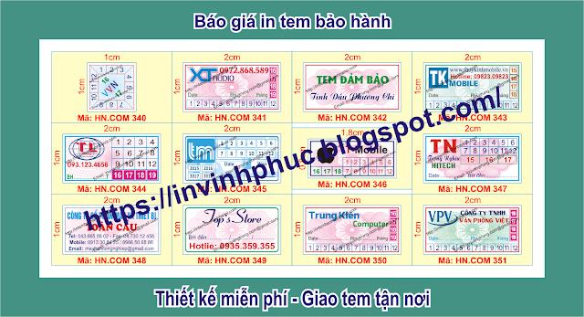 In tem bảo hành giảm giá khủng 52% chỉ còn 35đ/cái tem ở tại Phường Phú Cường, Thành phố Thủ Dầu Một, Tỉnh BìnhDương